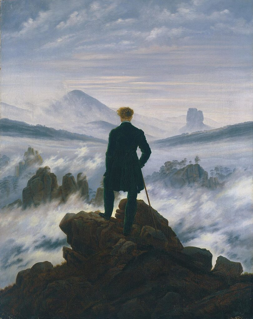 Arte romantica Viandante sul mare di nebbia Caspar David Friedrich